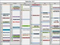 Calendrier des evenements 2017