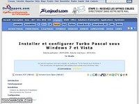 Installer et configurer Turbo Pascal sous Windows 7 et Vista