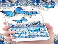 Papillon Bleu Clavier Thème Fleur gypsophila