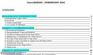 Cours Bardon - PowerPoint 2010