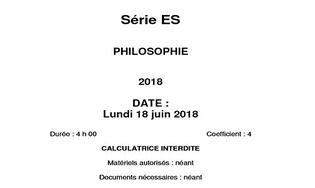 Sujet Philosophie - Bac 2018 - Série ES