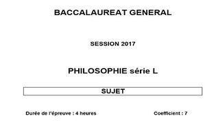Bac 2017 Philosophie - Série L