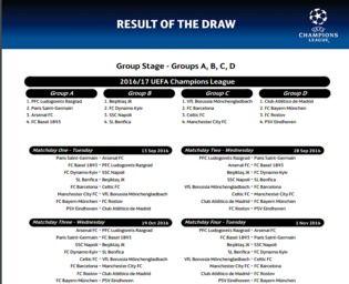 Calendrier Officiel Ligue Des Champions 2016 Bureautique