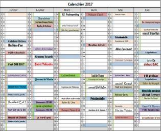 Calendrier des evenements 2017 Bureautique