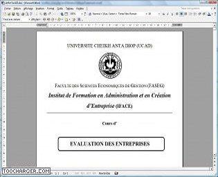 Evaluation d'entreprise MSG1-IFACE 2006/2007 Droit et économie