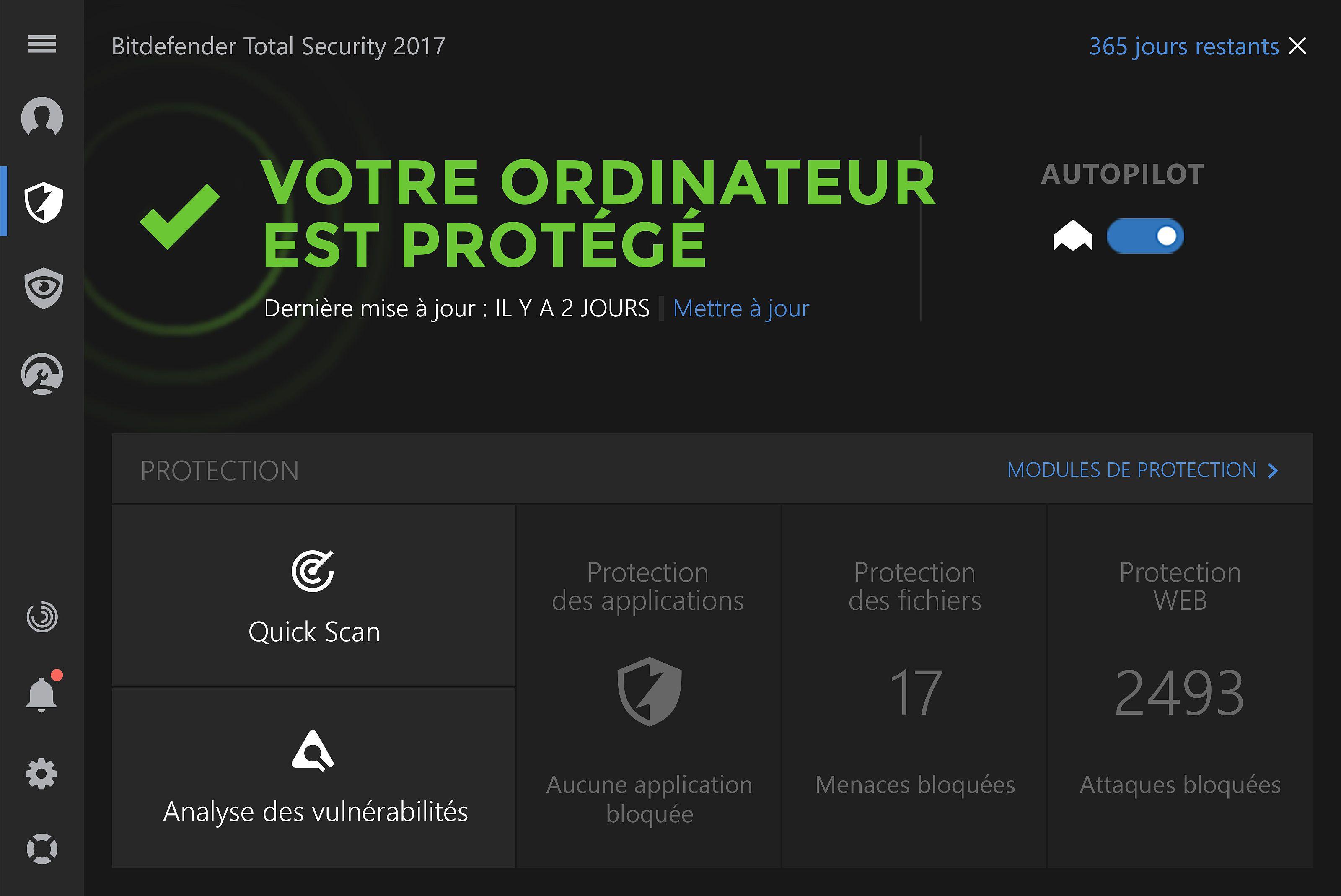 Bitdefender Total Security 2017 Bêta Sécurité & Vie privée