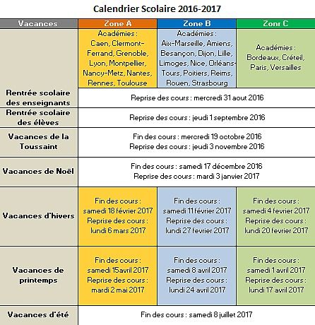 Calendrier Vacances Scolaires 2016-2017 Bureautique