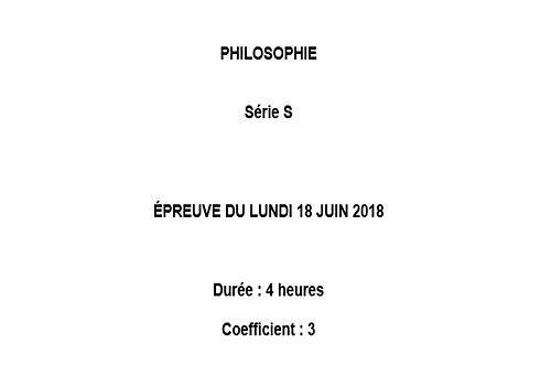 Sujet Philosophie - Bac 2018 - Série S Education