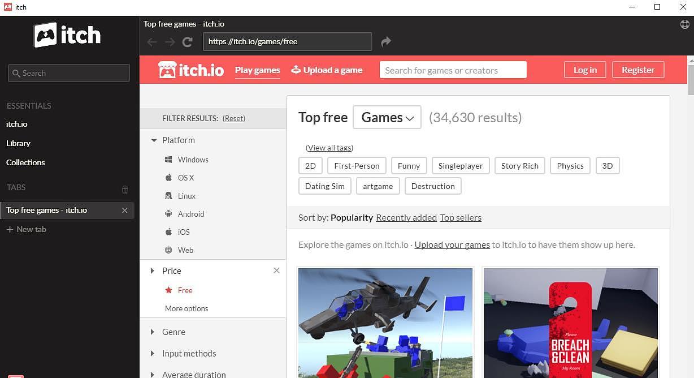 Itch.io Client Jeux