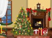 Cheminée décorée pour Noël