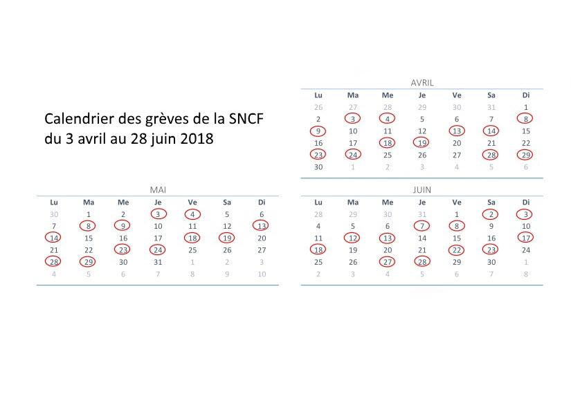 Calendrier grèves SNCF 2018 Dessins & Arts divers