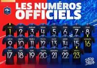Coupe du Monde - Numéros officiels des joueurs de l'équipe de France