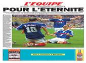 Une de l'Equipe il y a 20 ans à la victoire de la Coupe du Monde 1998