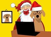 Carte Père Noël et chien   Fonds d'écran