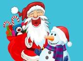 Père Noël bonhomme de neige Fonds d'écran