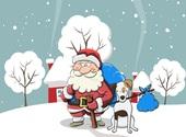 Père Noël et chien  Fonds d'écran