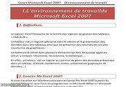 Environnement de Travail de MS Excel 2007 Informatique