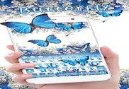 Papillon Bleu Clavier Thème Fleur gypsophila Maison et Loisirs