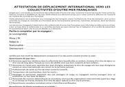 Attestation de déplacement international vers les collectivités d'outre-mer Bureautique
