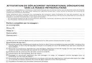 Attestation de déplacement international dérogatoire vers la France métropolitaine Bureautique