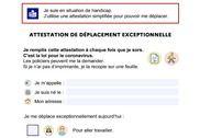Covid-19 Attestation de déplacement simplifiée Bureautique