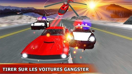 Police hélicoptère chasse contre voiture mafia