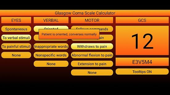 Glasgow Coma Scale calculator