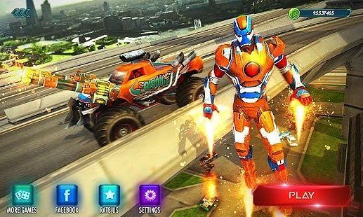 Iron Superhero Flying Robot Car: Grand City Battle
