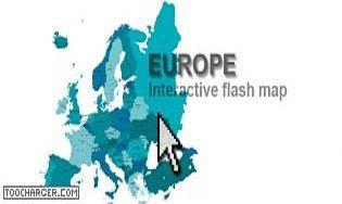 Carte interactive cliquable de l'Europe en Flash