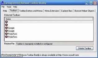 Buddy toolbar remove