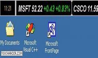 Stock Ticker Application Bar