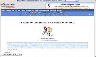 Nouveauté Access 2010 : Editeur de Macros