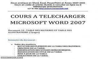 Table des matières et table des illustrations Word 2007