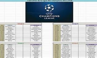 Calendrier De La Ligue Des Champions 2017 2018 Telecharger