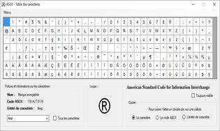 ASCII Table des caractères