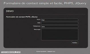 Formulaire de contact en PHP5 et JQuery facile à installer