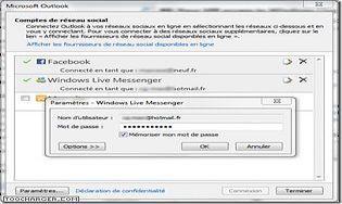 Microsoft Outlook Social Connector Provider pour Windows Live Messenger