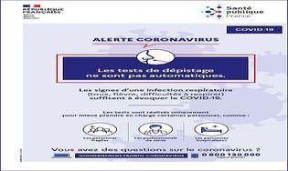 Coronavirus Affiche Tests de dépistage