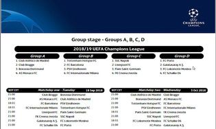 Copa America Calendrier.Calendrier Officiel De La Ligue Des Champions 2018 2019