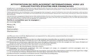 Attestation de déplacement international vers les collectivités d'outre-mer