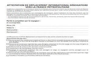 Attestation de déplacement international dérogatoire vers la France métropolitaine