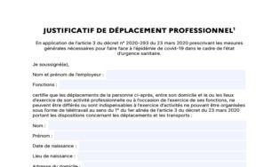 Attestation employeur de déplacement professionnel