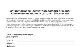 Attestation de déplacement dérogatoire de la France métropolitaine vers l'Outre-mer