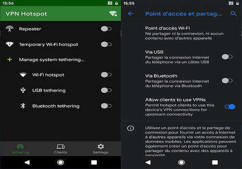 VPN Hotspot - tethering/Wi-Fi repeater Android Réseau & Administration