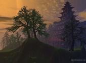 Maison chinoise dans la forêt Fonds d'écran