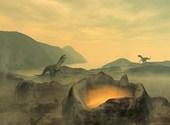 Dinosaures près de volcan Fonds d'écran