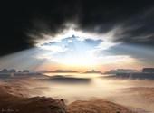 Ciel éclairé en plein désert Fonds d'écran