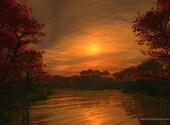 Coucher de soleil sur le lac Fonds d'écran