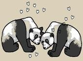 Deux panda qui s'aiment... Dessins & Arts divers