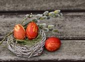 Oeufs de Pâques sur un nid Fonds d'écran